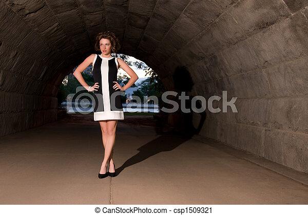 Elegant Fashion in Urban Underpass - csp1509321