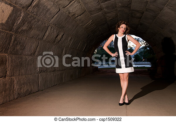 Elegant Fashion in Urban Underpass - csp1509322