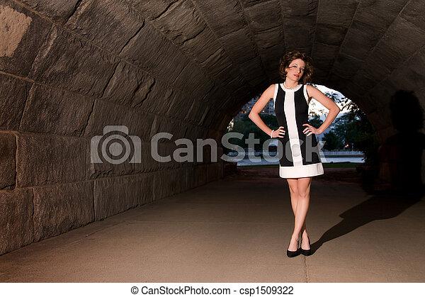 Elegant Fashion in Urban Underpass - csp1509322