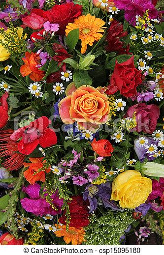 Flower arrangement in bright colors