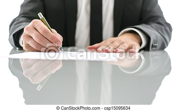 Lawyer signing document - csp15095634