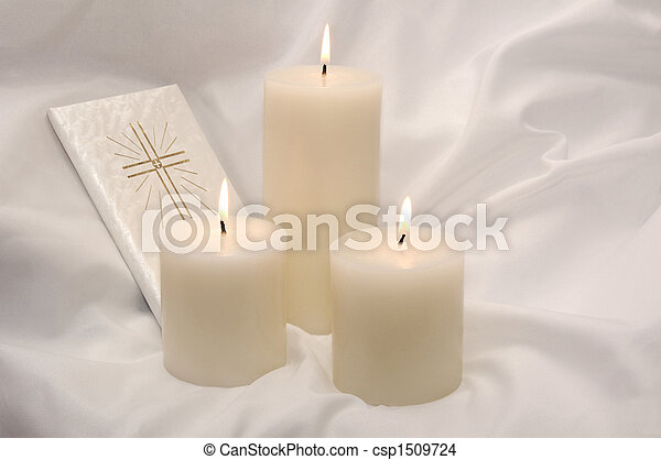 First Holy Communion Candles and Prayer Book - csp1509724