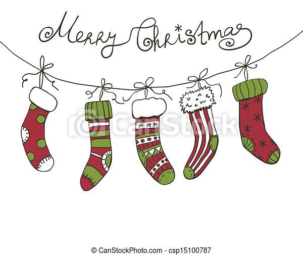 Christmas background with hanging Christmas socks