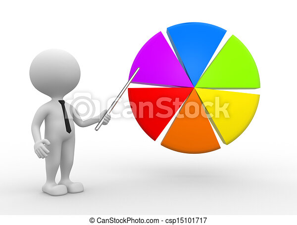 Clipart of Pie chart - 3d people - man, person pointing pie chart ...