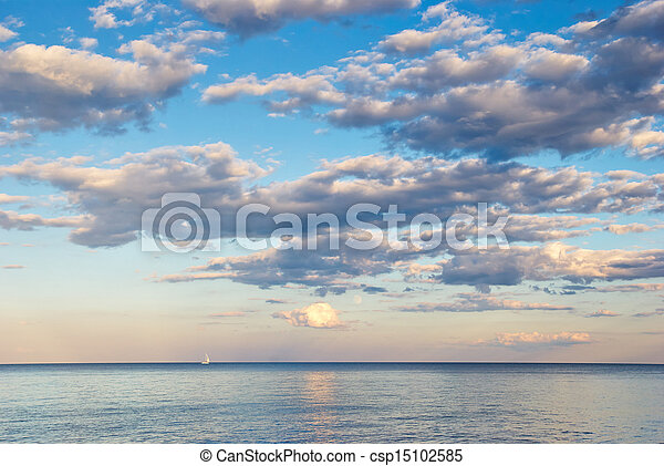 beauty landscape with sunrise over sea - csp15102585
