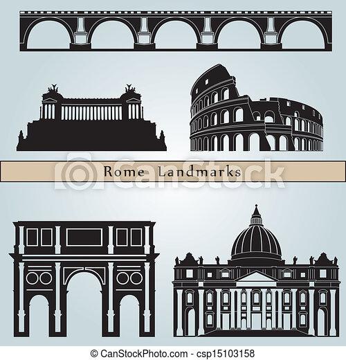 clipart vektor von wahrzeichen rom denkm ler rom wahrzeichen und csp15103158 suchen. Black Bedroom Furniture Sets. Home Design Ideas