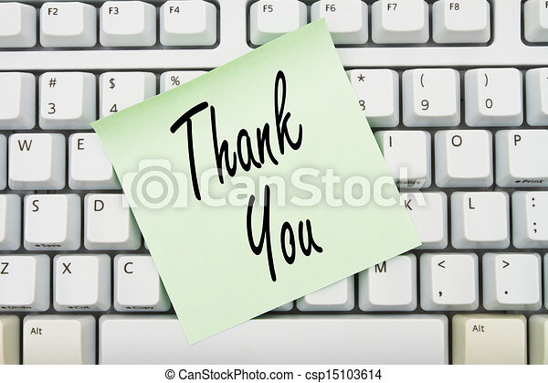 Clipart of Thank You - Computer keyboard keys with sticky note with ...: www.canstockphoto.com/thank-you-15103614.html