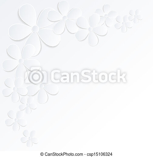 beautiful gray and white background with flowers made of paper with a place for text. Many similarities to the author's profile. - csp15106324
