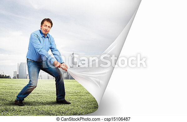 Adult man changing reality - csp15106487
