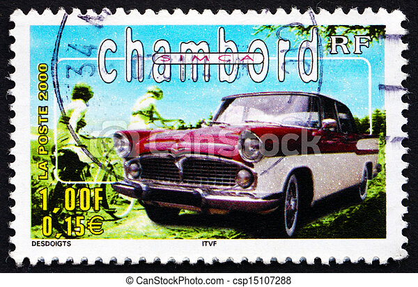 Postage stamp France 2000 Simca Chambord, Automobile - csp15107288