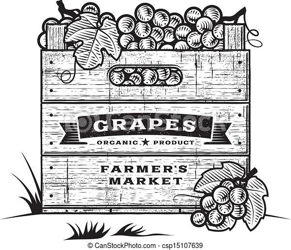 retro, paka, winogrona, B&w - csp15107639