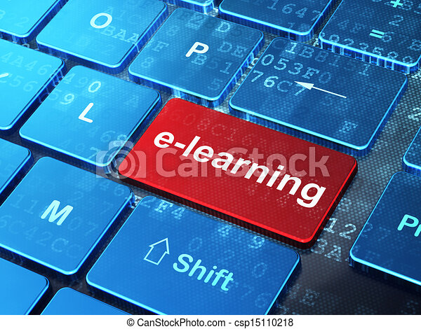 Education concept: E-learning on computer keyboard background - csp15110218
