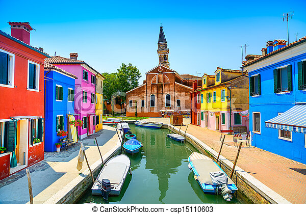 Venice landmark, Burano island canal, colorful houses, church and boats, Italy - csp15110603
