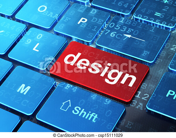 Marketing concept: Design on computer keyboard background - csp15111029