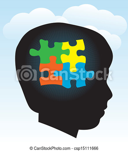 Vector Clipart of Child Autism Silhouette - Black silhouette of ...