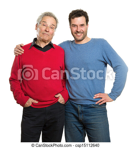Senior and mature adult, two generations portrait - csp15112640