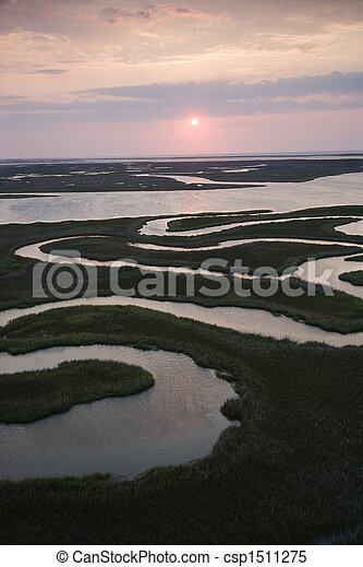 Aerial of wetlands. - csp1511275