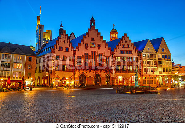 Historic Center of Frankfurt at night - csp15112917