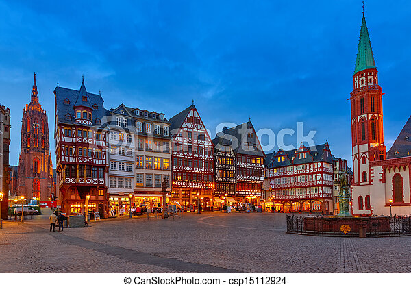 Historic Center of Frankfurt at night - csp15112924
