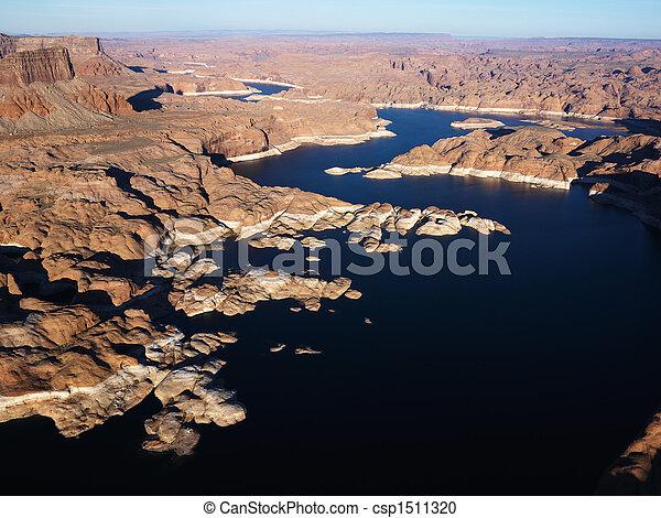 Powell, 航空写真, 湖 - csp1511320