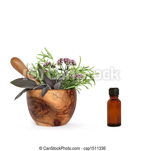 Aromatherapy Essential Oil Herbs - csp1511336