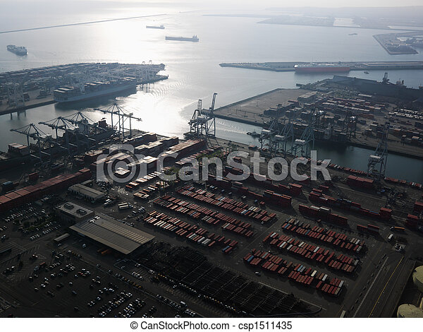 Aerial of shipping dock. - csp1511435