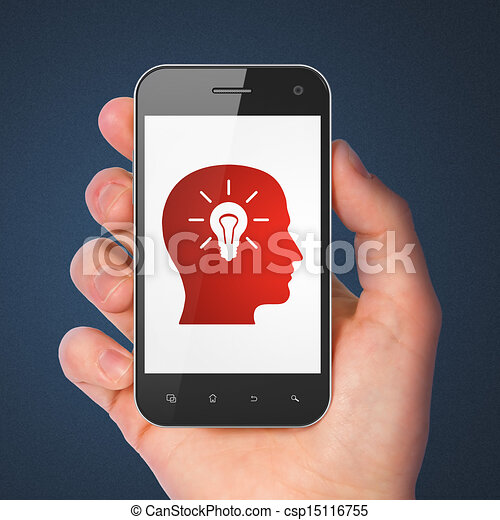 Education concept: Head With Light Bulb on smartphone - csp15116755