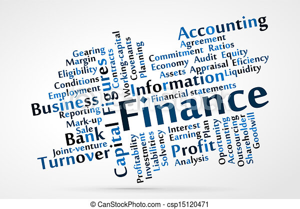 Vectors Illustration of Finance word cloud csp15120471 - Search ...