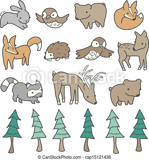 Cute Forest Animals - csp15121436