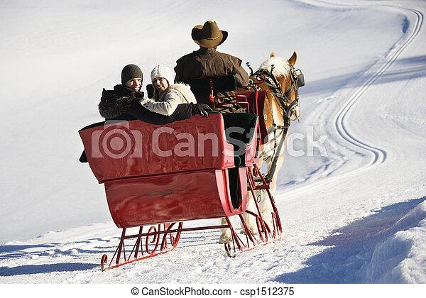 Sleigh ride in winter. - csp1512375
