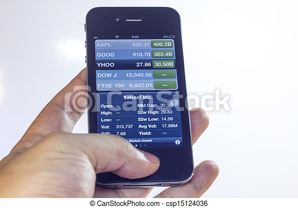 Hand holding mobile smart phone with mobile banking - csp15124036