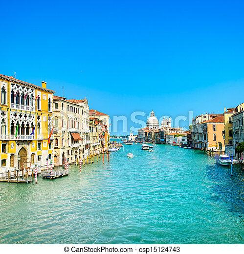Venice grand canal, Santa Maria della Salute church landmark. Italy - csp15124743