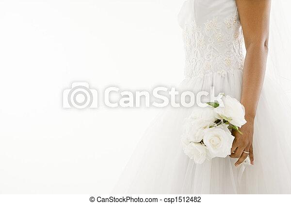 sposa, bouquet., presa a terra - csp1512482