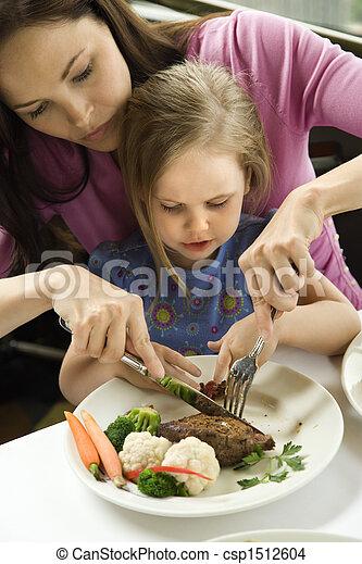 Mom helping daughter cut food. - csp1512604