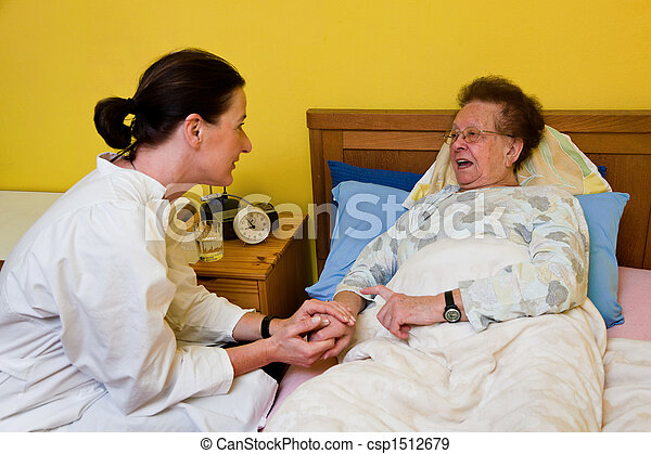 The sick old woman is visited  - csp1512679