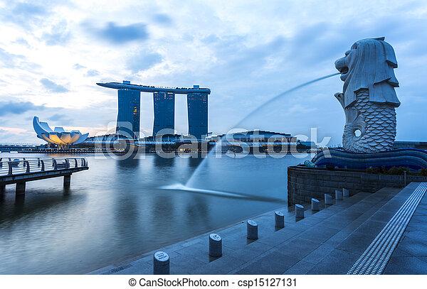 Singapore landmark Merlion with sunrise - csp15127131