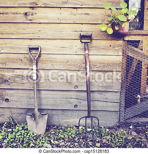 Gardening tools with retro filter effect - csp15128183