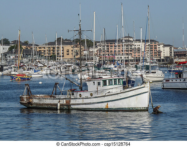 Stock Image of Fishing Boat of Monterey Bay - A seal suns ...