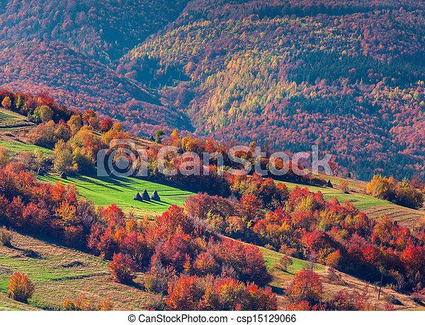 Colorful autumn landscape in mountain village - csp15129066