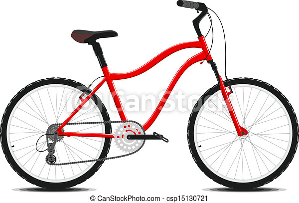 Red Bicycle on a white background. Vector. - csp15130721