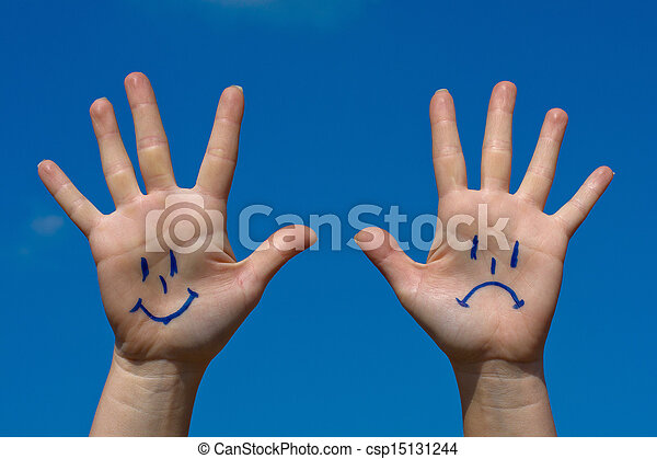 Hands with smiles and sadness pattern - csp15131244