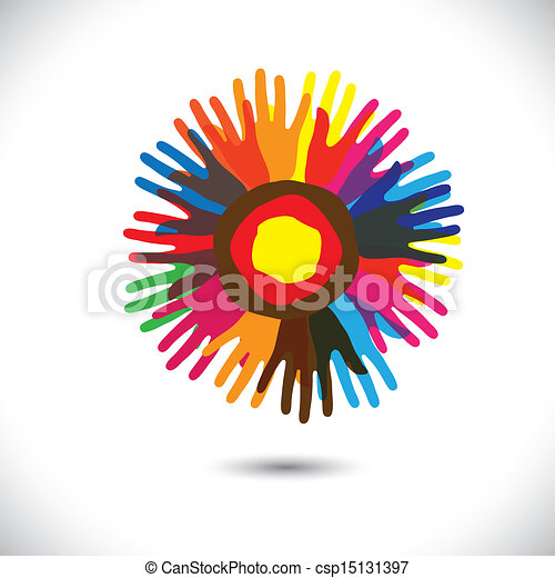 Colorful hand icons as petals of flower: happy community concept. This vector graphic illustration represents people team standing united, community unity, people helping, universal brotherhood, etc - csp15131397