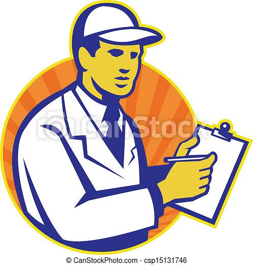 Eps Vector Of Technician Inspector Worker Clipboard Retro