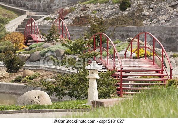japanese garden with stairs and bridges - csp15131827