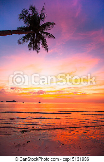 Beautiful sunset on the ocean, natural composition (vertical frame) - csp15131936