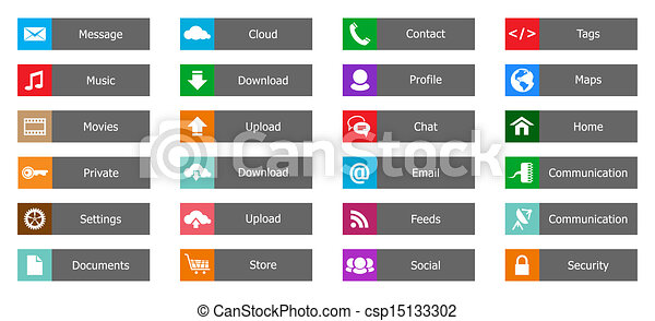 Web Design elements, buttons, icons. Templates for website - csp15133302