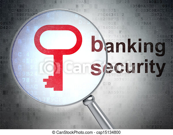 Security concept: Key and Banking Security with optical glass - csp15134800