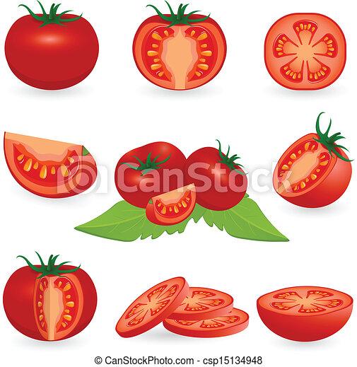 Cut Tomato Drawing Icon Set Tomato Csp15134948