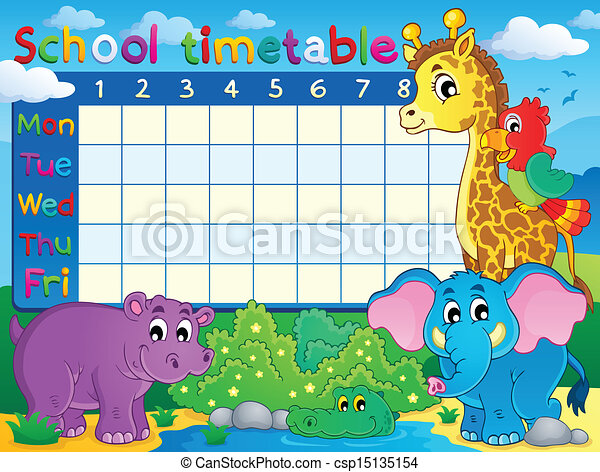 Clipart Vector of School timetable theme image 7 - eps10 vector ...