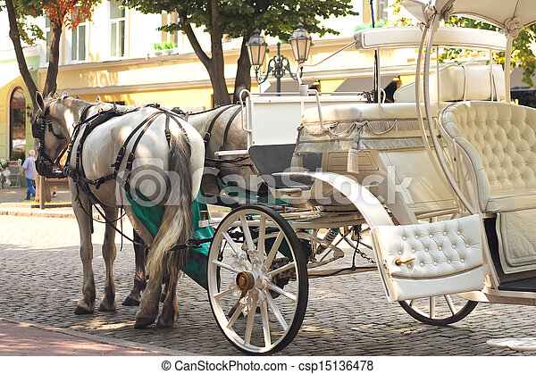 Horses drawn carriage on summer city street - csp15136478